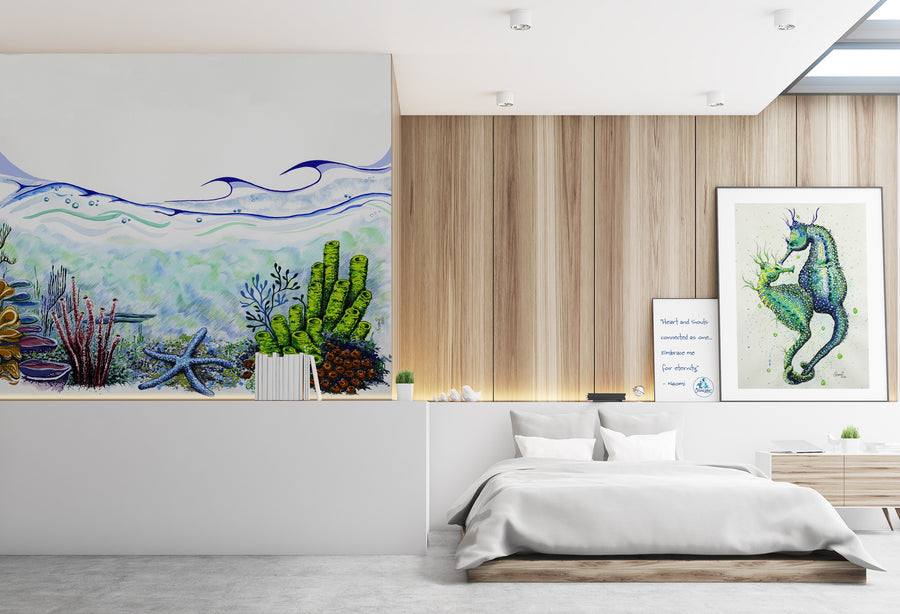 CORAL BLUE STARFISH - WALL MURAL