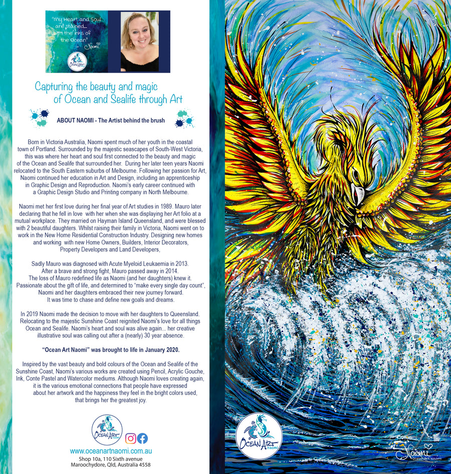 Rising Sea Phoenix (blank inside) Greeting Card