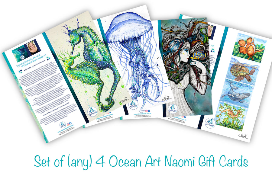 Ocean Art Naomi - Set 4 (blank inside) Greeting Cards
