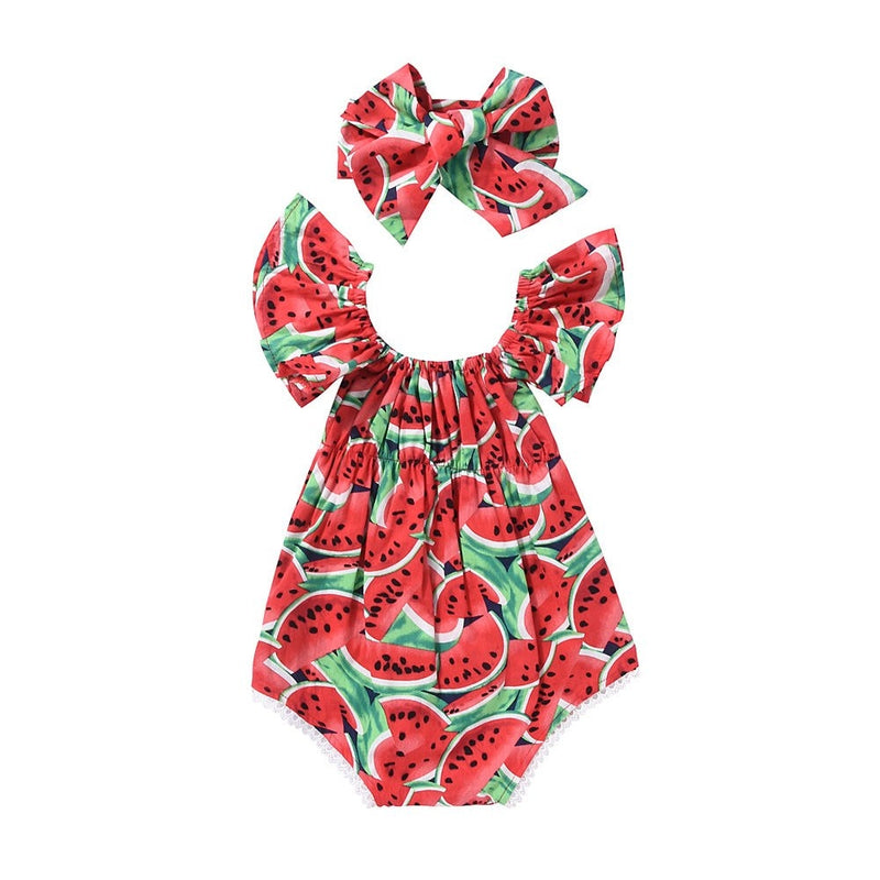 Baby Watermelons Ruffle Romper With Headband - (6-12M)