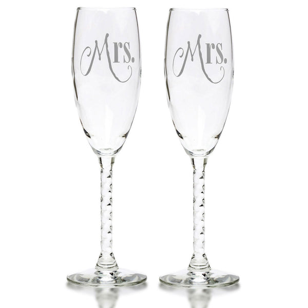 Mr. & Mrs. Silver Glass With Elegant Lettering