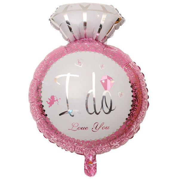 I Do Pink Wedding Ring Foil Balloon