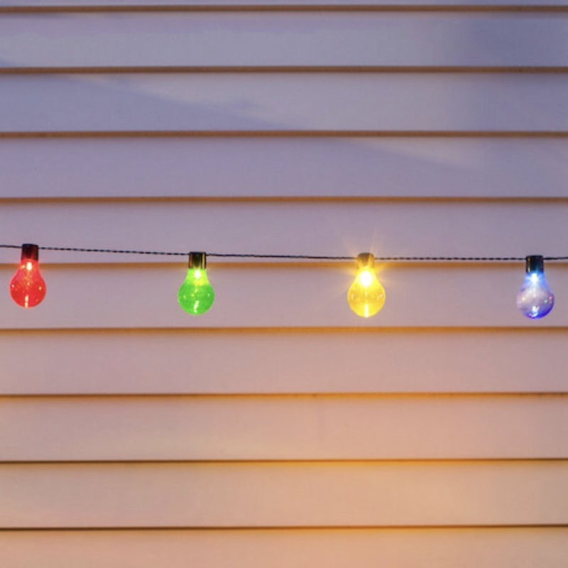 Solar Powered Festoon Party Lights With 20 Multi Coloured Perspex Caps