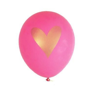 Gold Heart Balloons - Hot Pink