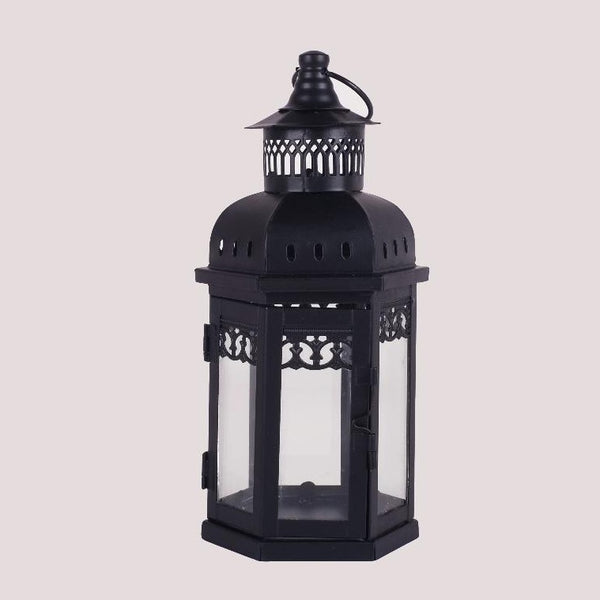 Medium Black Clear Doors Lantern