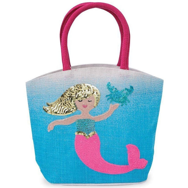 Mud Pie Mermaid Straw Tote - Blue