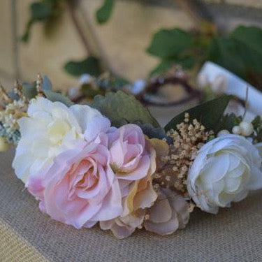 Dusty Teal, Blush & Ivory Flower Crown #05
