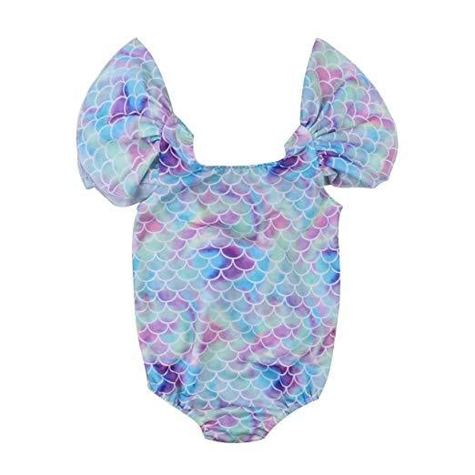 Girls Blue Colorful Mermaid Swimsuit (80) 9-12 M