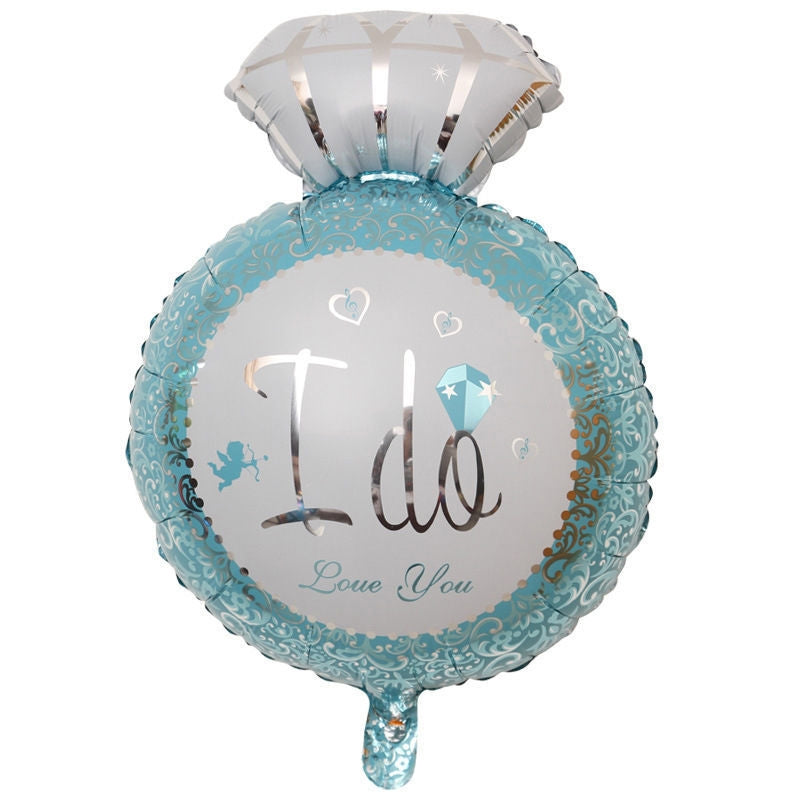 I Do Blue Wedding Ring Foil Balloon