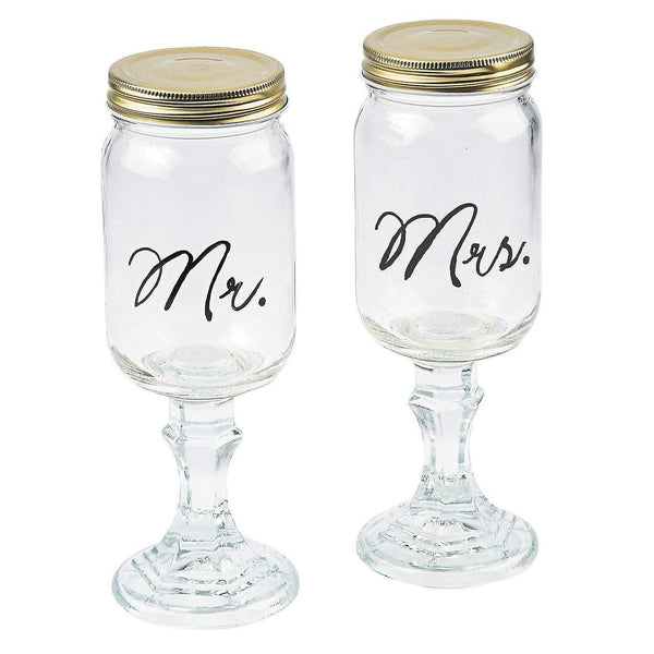 Mr. And Mrs. Mason Jar Goblets Set