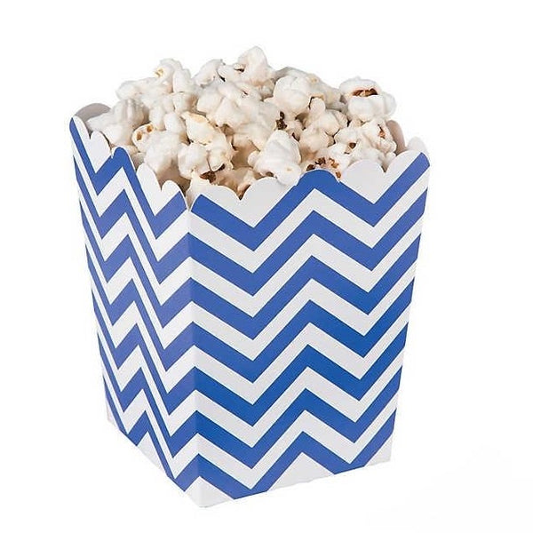 Mini Chevron Popcorn Boxes - Blue