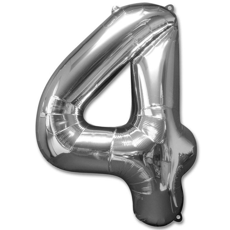 4 Number Giant Silver Balloon â 30 Inch