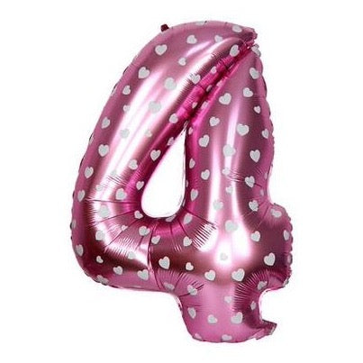 4 Number Pink Hearts Balloon â 16 Inch