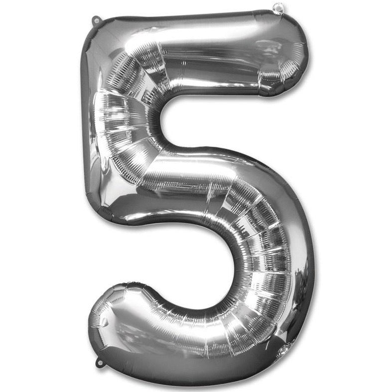 5 Number Giant Silver Balloon â 30 Inch