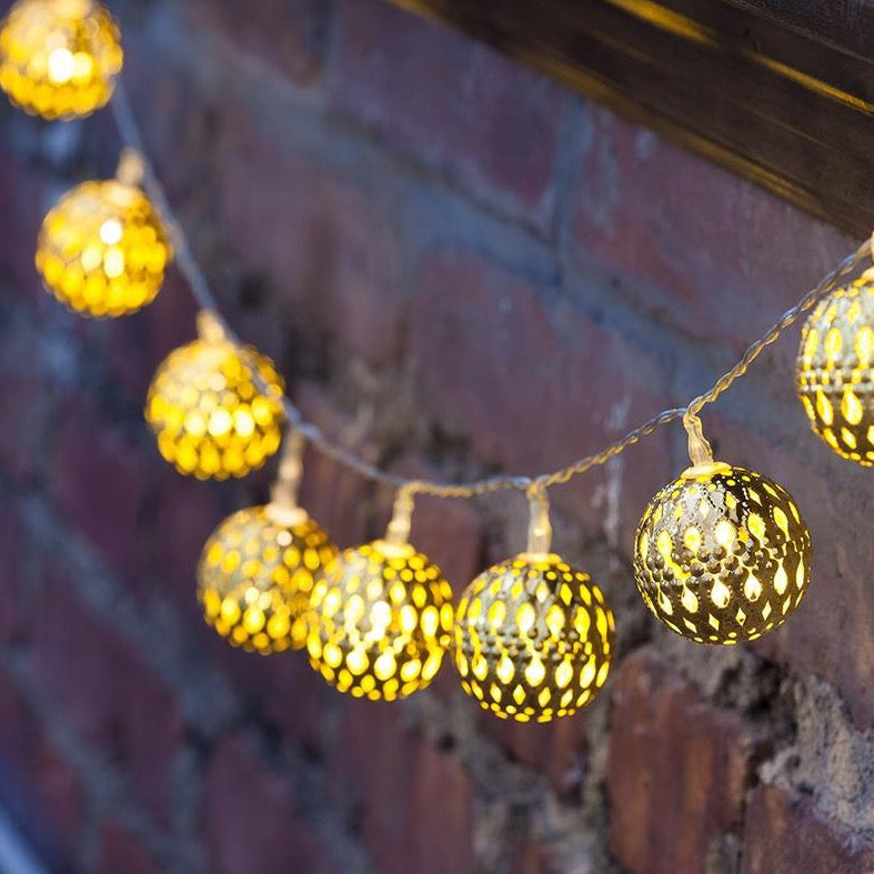10 Gold Moroccan Orb Battery Fairy Lights