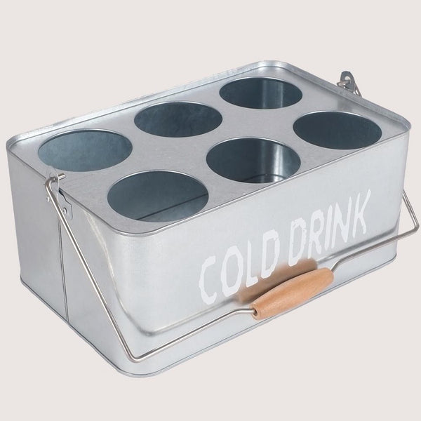 Metal Portable Cold Drinks Caddy Basket (Big Silver)