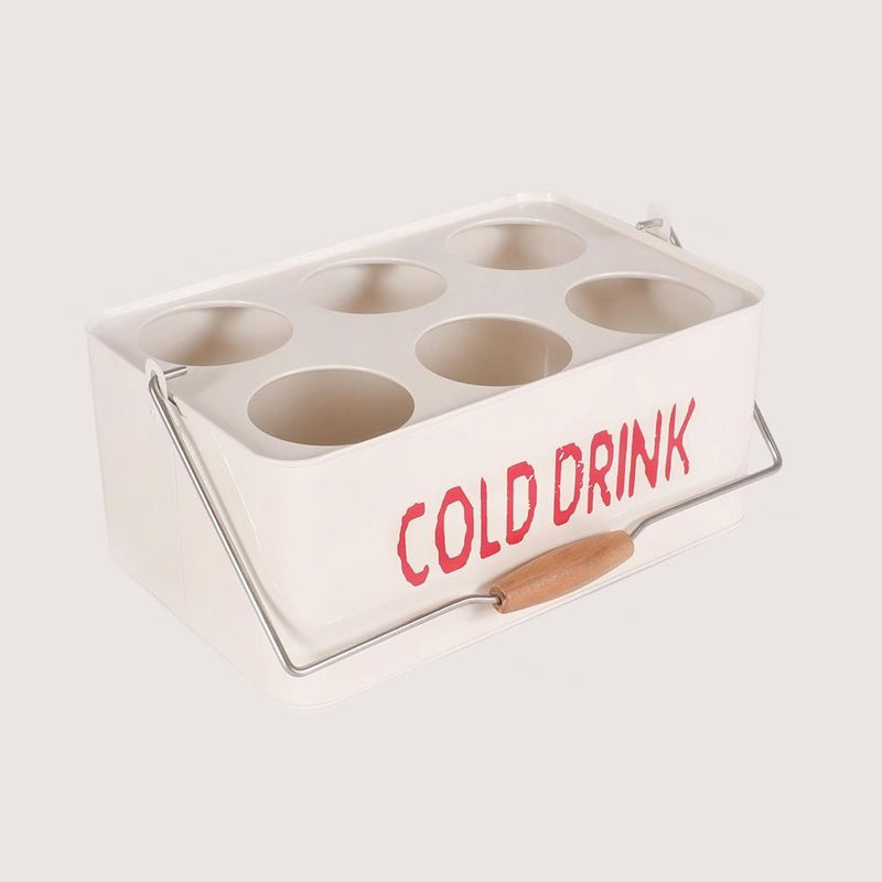 Metal Portable Cold Drinks Caddy Basket (Small Ivory)