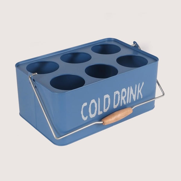Metal Portable Cold Drinks Caddy Basket (Small Blue)