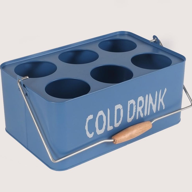 Metal Portable Cold Drinks Caddy Basket (Big Blue)