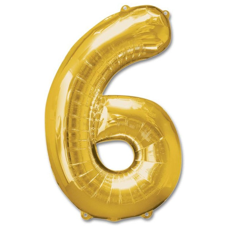 6 Number Giant Gold Balloon â 30 Inch