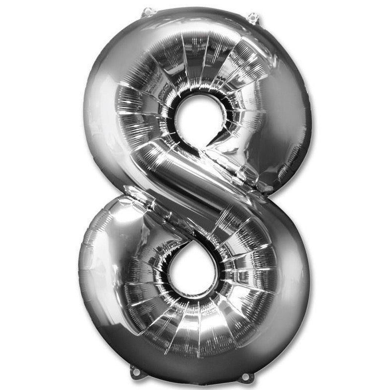8 Number Giant Silver Balloon â 30 Inch