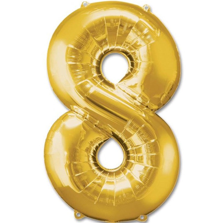 8 Number Giant Gold Balloon â 30 Inch