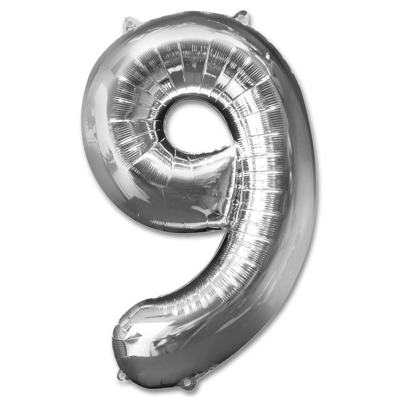 9 Number Giant Silver Balloon â 30 Inch