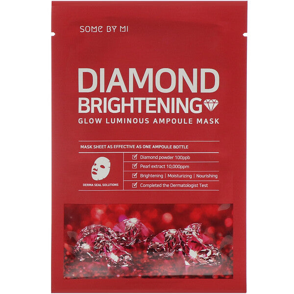 Some By Mi, Glow Luminous Ampoule Mask, Diamond Brightening, 10 Sheets, 25 Each