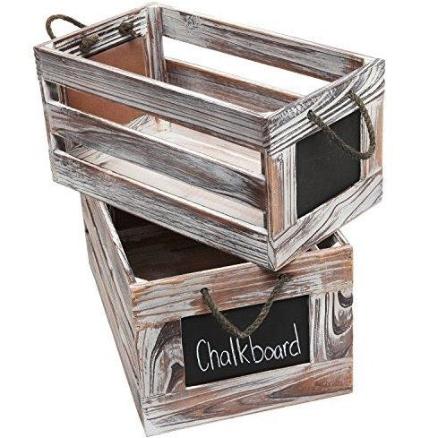 Wood Rustic Crates With Chalkboard Labels (Set Of 2)
