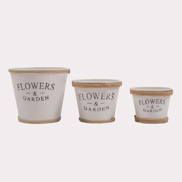 Flowers & Garden White With Rope Triple Pots
