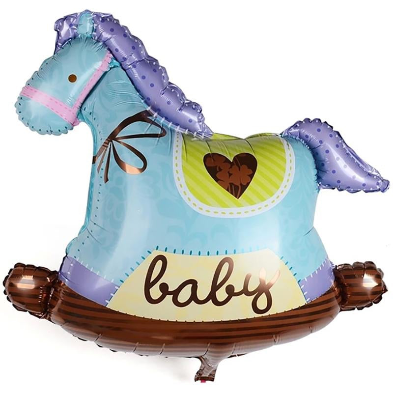 Baby Boy Rocking Horse Foil Balloon