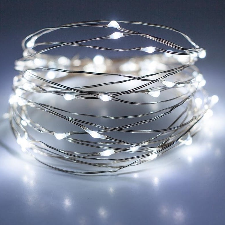 Micro 100 Led Cool White Fairy Lights On Silver Wire