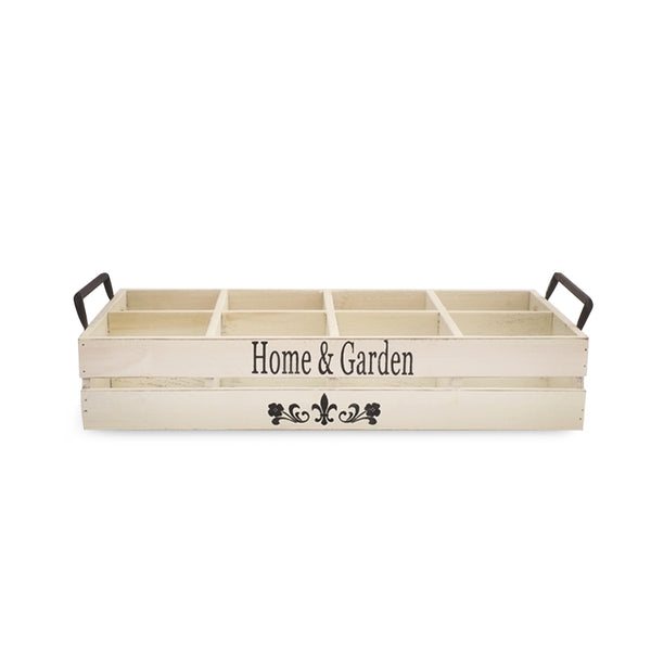 Home & Garden Wood Tray W/ Handles