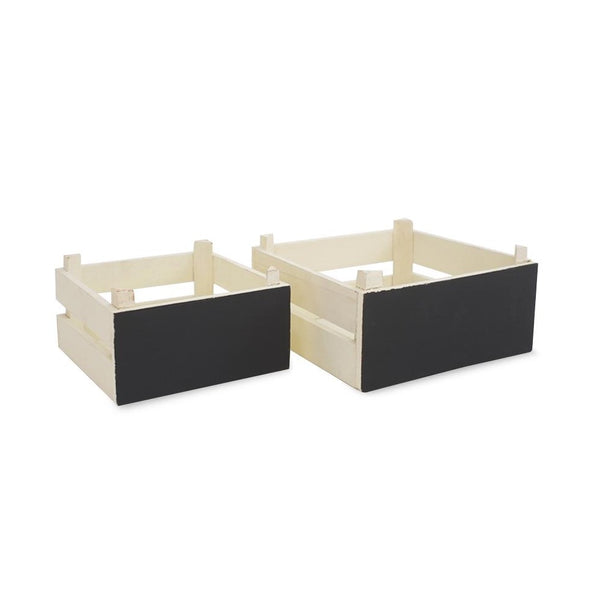 Small Chalkboard Wooden Crates - White -
