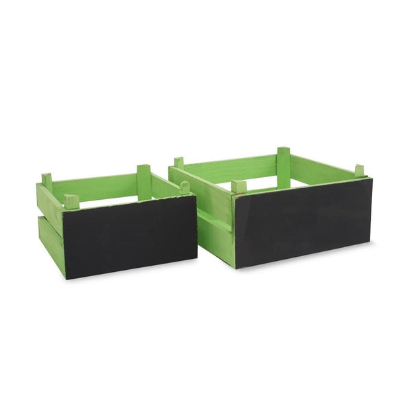 Small Chalkboard Wooden Crates - Green -