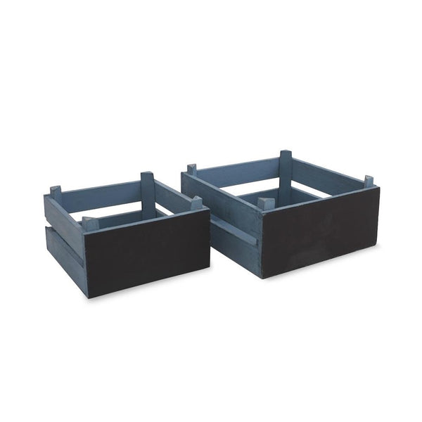 Small Chalkboard Wooden Crates - Blue -