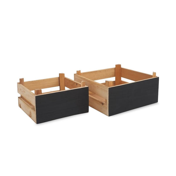 Small Chalkboard Wooden Crates - Natural -