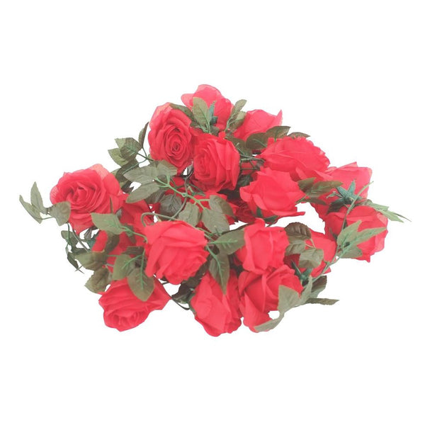 Silk Rose Flower Garland (Red)