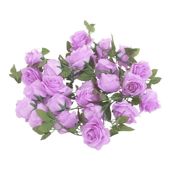 Silk Rose Flower Garland (Purple)