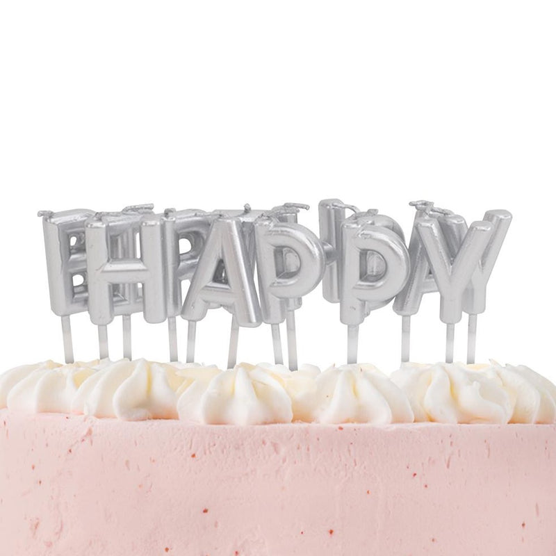 Silver Happy Birthday Candles