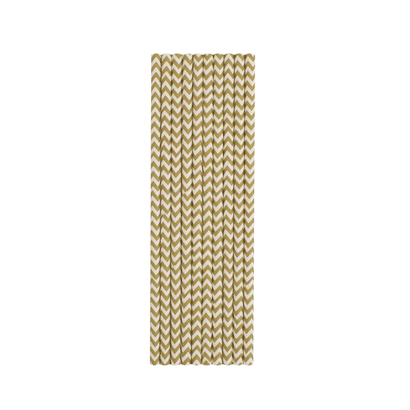Gold Chevron Paper Straws