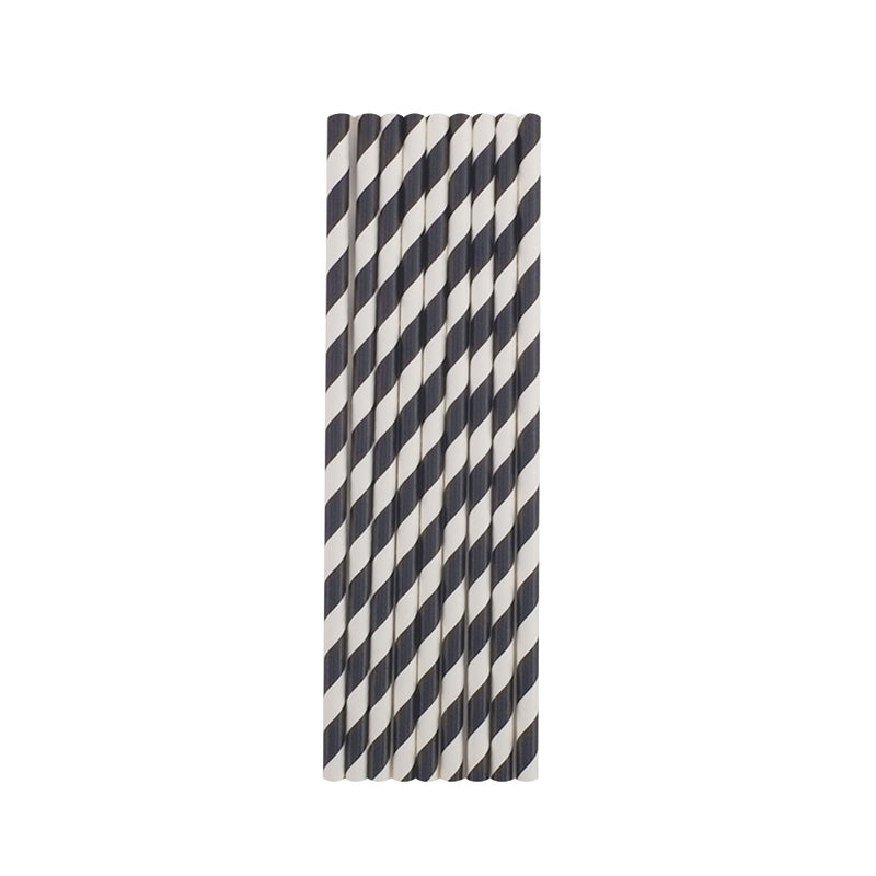 Black Stripes Paper Straws