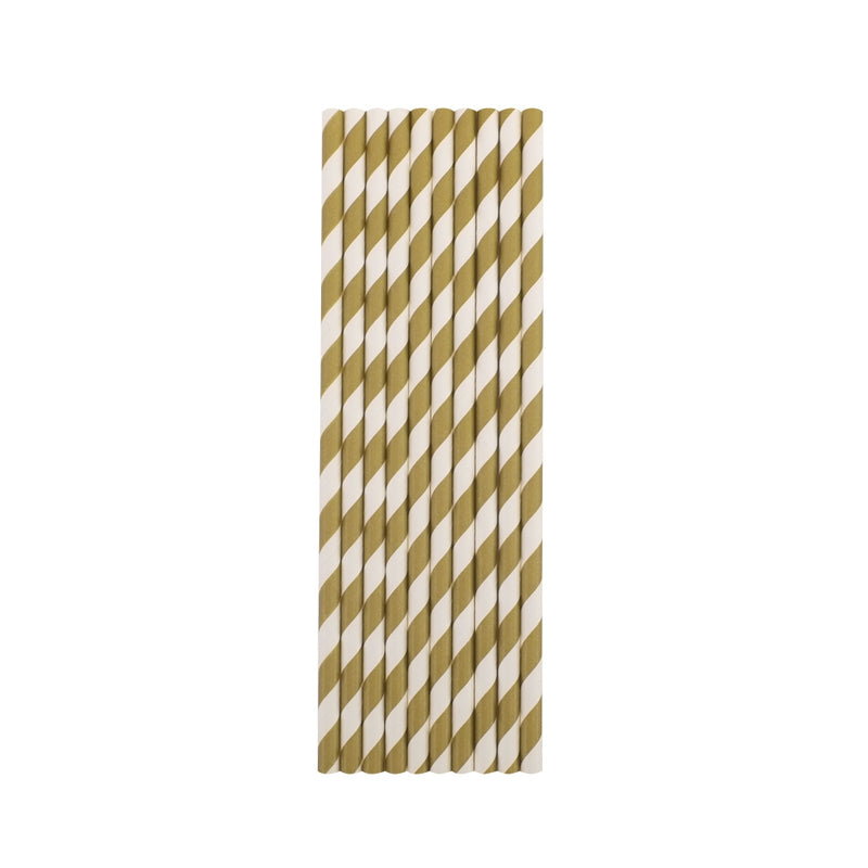 Gold Stripes Paper Straws