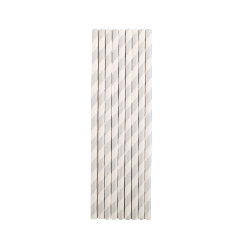 Silver Stripes Paper Straws