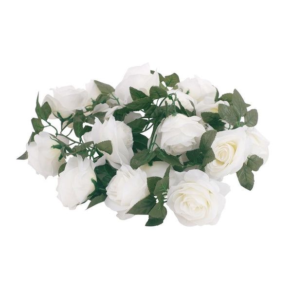 Silk Rose Flower Garland (White)