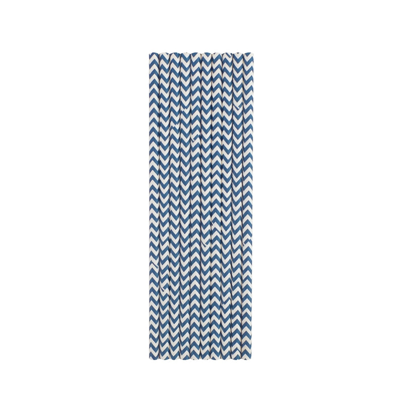 Dark Blue Chevron Paper Straws