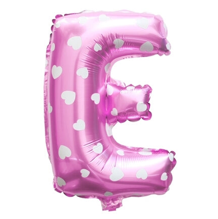 E Letter Pink Hearts Balloon â 16 Inch
