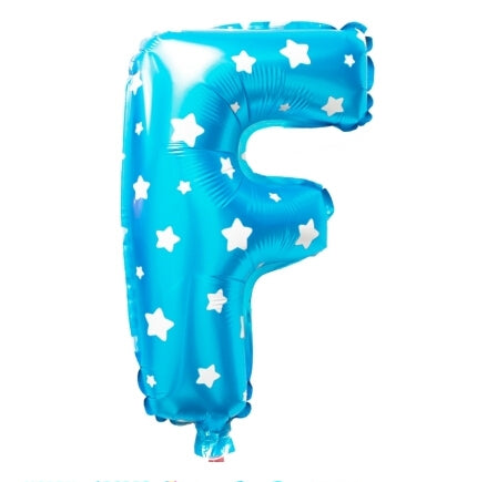 F Letter Blue Stars Balloon â 16 Inch