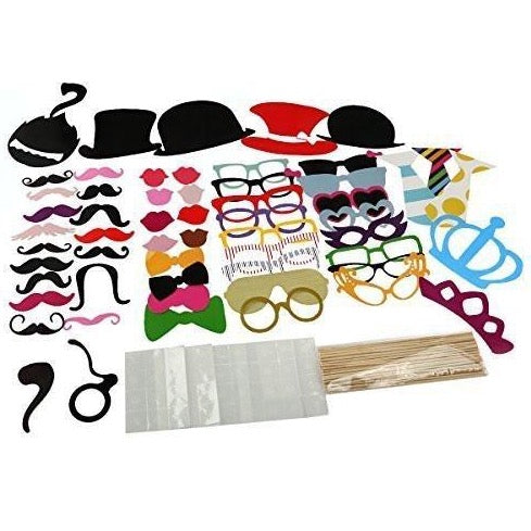 Tinksky 60Pcs Diy Funny Photo Booth Props Kit For Party