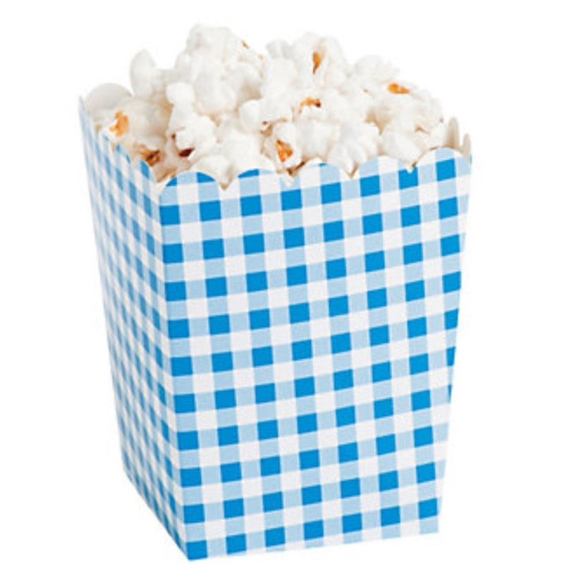 Gingham Popcorn Boxes - Blue
